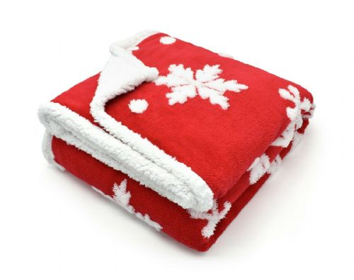 SNOWFLAKES LUXURY FLEECE SOFT WARM THICK SHERPA THROW  RED 127CM X 152CM